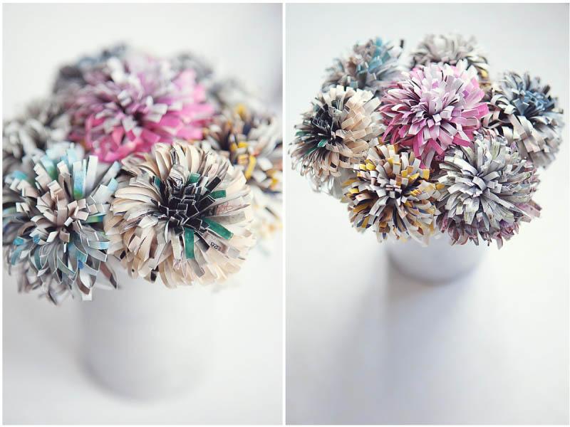 Crea un bouquet de flores depapel